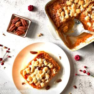 Sweet Potato Casserole with Marshmallows on a serving plate