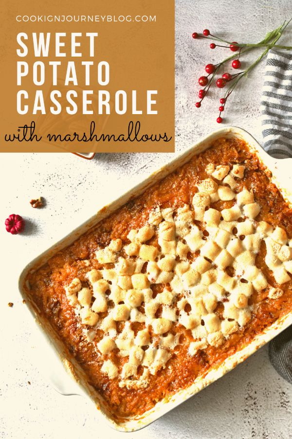 Sweet potato casserole wiith marhsmallows and pecans. Easy Thanksgiving or Christmas side dish.