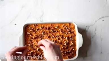 Crush leftover pecans and sprinkle on top of casserole.