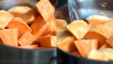 Wash, peel and cut potatoes in cubes. Place them in a large pot. Cover potatoes with water.
