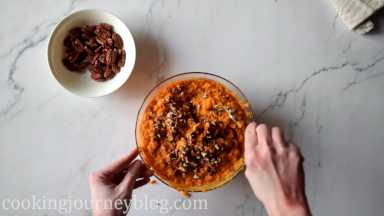 Crush half of pecans with hands or knife. Mix in the sweet potato mash.