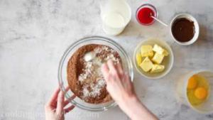 In a large bowl combine dry ingredients - flour, white and brown sugar, cocoa powder, baking powder, baking soda, salt and vanilla powder.