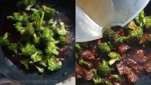Add broccoli, beef broth and cook 2 minutes.
