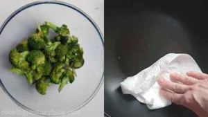Remove broccoli from the pan and set aside. Wipe the pan with paper towel.