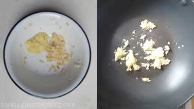 Add freshly grated ginger and garlic to the hot pan. Cook, tossing for 30 seconds until fragrant. Set aside to cool.