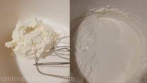 Whip Mascarpone cheese for few minutes and whip heavy cream in separate bowl, using hand mixer.