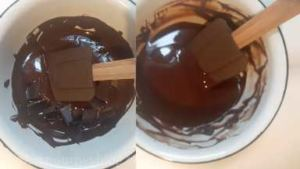 Then transfer the bowl to the cool table. Start adding remaining chocolate and mixing with a spatula until it cools to 31 C / 88 F. The process may take up to 20 minutes, depending on the temperature of your room. You can see it becomes glossy and thick.