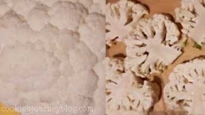 Cut cauliflower into thick steaks for roasting, leaving the stem.