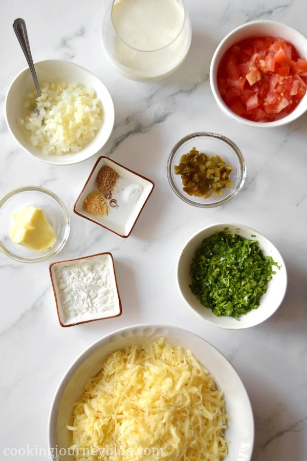 Ingredients for chile con queso: chpped onion and garlic, butter, spices, corn starch, chopped tomato, marinated chili, chopped parsley and shredded cheese.