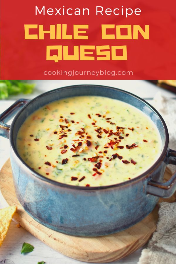 Chile con Queso is an easy Mexican cheese dip with chili pepper. Spicy and delicious party appetizer or side dish. Perfect to serve warm with tortilla chips or nachos.