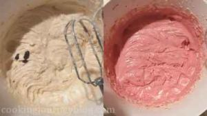 Add red gel coloring.Beat until you have pink batter.