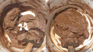 Add 1/3 of cream cheese frosting to another bowl. Melt 1/4 of chocolate in microwave or Bain Marie and slowly incorporate it in cream cheese until smooth.