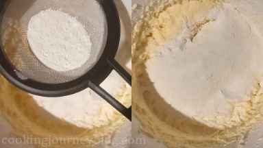 Sift in flour.