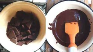 Temper the chocolate. Set 30% or 180 g of chocolate aside. In the double boiler (the pan with a little water and heat-proof bowl with chocolate on top) melt bigger part of chocolate chocolate, stirring, until it almost melted and the temperature is 46 C.