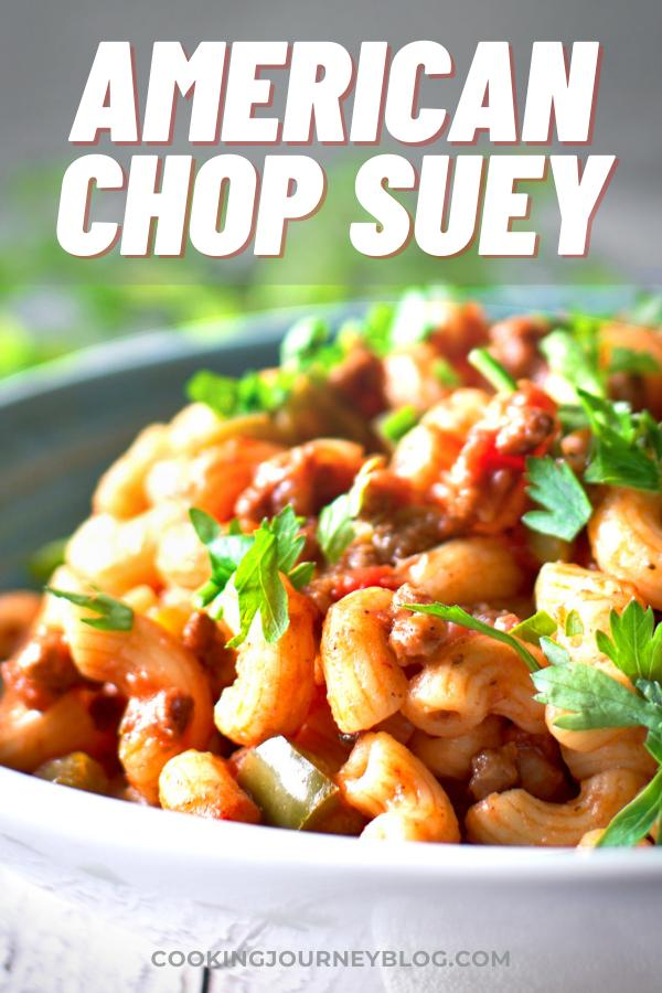 Easy American Chop Suey is perfect recipe for weeknight dinner! Ground beef and macaroni will be a perfect family meal idea that is kid friendly.