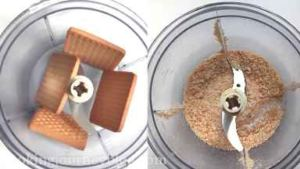 In a food processor put biscuits and process until crumbs. Add melted butter and process until it resembles wet sand.