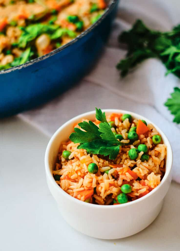 Mexican red rice in a white bowl