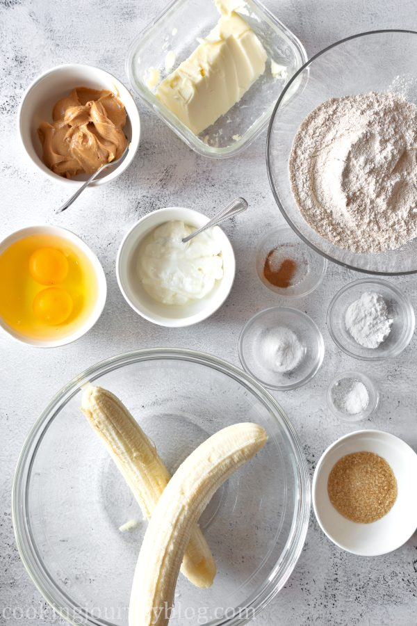 Ingredients for peanut butter banana bread
