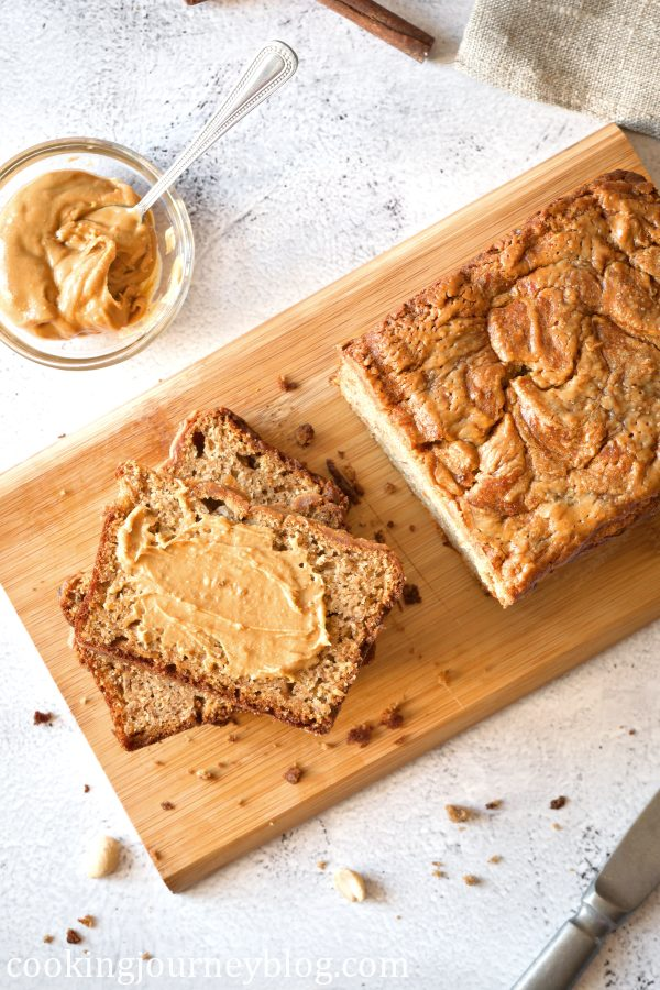 Banana bread served with peanut butter