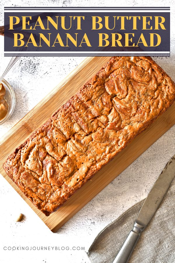 Peanut butter banana bread loaf on the serving board