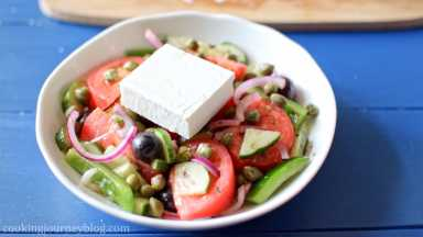 Add a thick slice of feta on top of each serving.