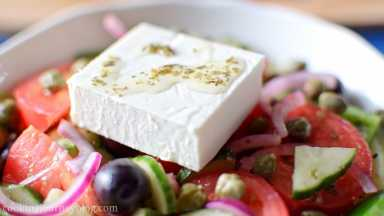 Add a tsp of leftover dressing on top of feta.