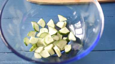 Cut cucumber in quarters lengthwise. Chop it, add to the large bowl.