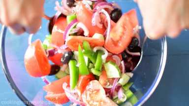 Add dressing to the salad and mix together with salad servers or two tablespoons. Let it sit 5 min*