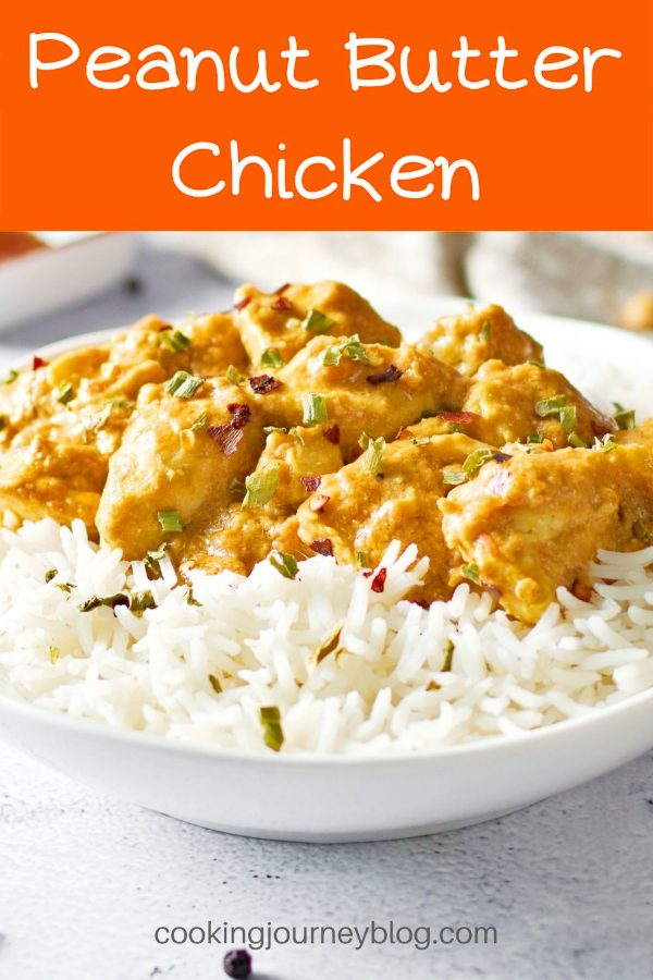 Easy and nutritious dinner that is ready in 20 minutes. Peanut butter chicken is a quick weeknight dinner. Gluten free and lactose free chicken meal. Main dish recipe with delicious peanut butter sauce can be served with rice or vegetables.