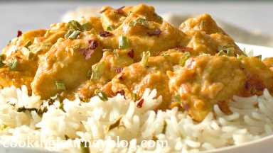 Serve with rice or vegetables, sprinkle with skallions and chili flakes on top.