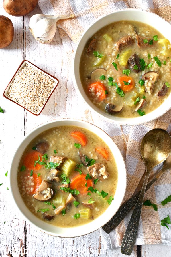 Vegetable beef barley soup with mushrooms served for two